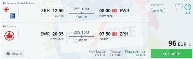 טיסה מציריך לניו יורק עם מחיר טעות