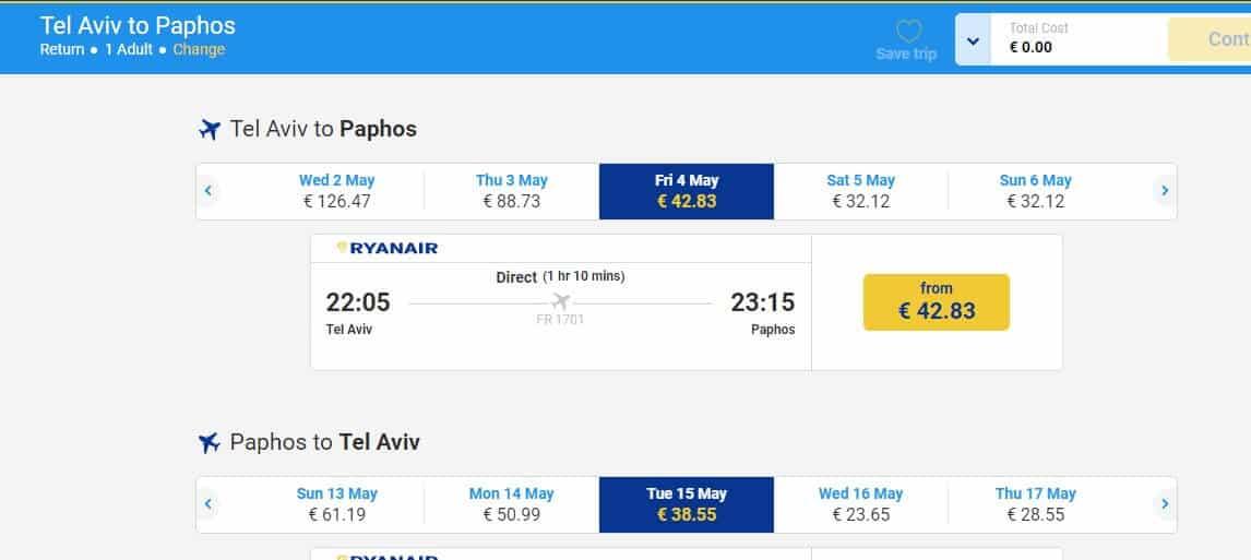 מסך טיסה ריינאייר תל אביב פאפוס