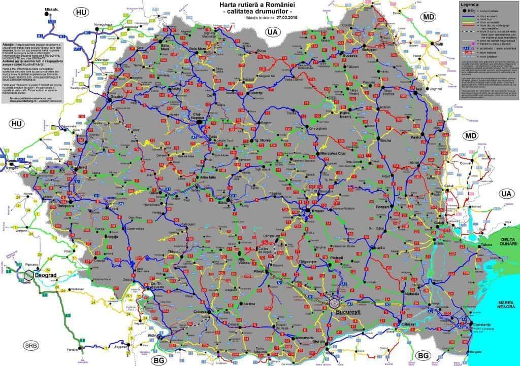 מפת איכות הכבישים ברומניה