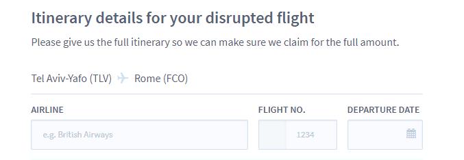 פרטי הטיסה שנדחתה או בוטלה
